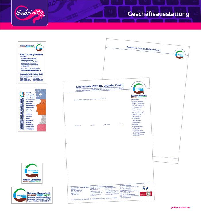 Referenz: Geschäftsausstattung Briefpaper, Visitenkarten, Aufkleber Gründer Geotechnik