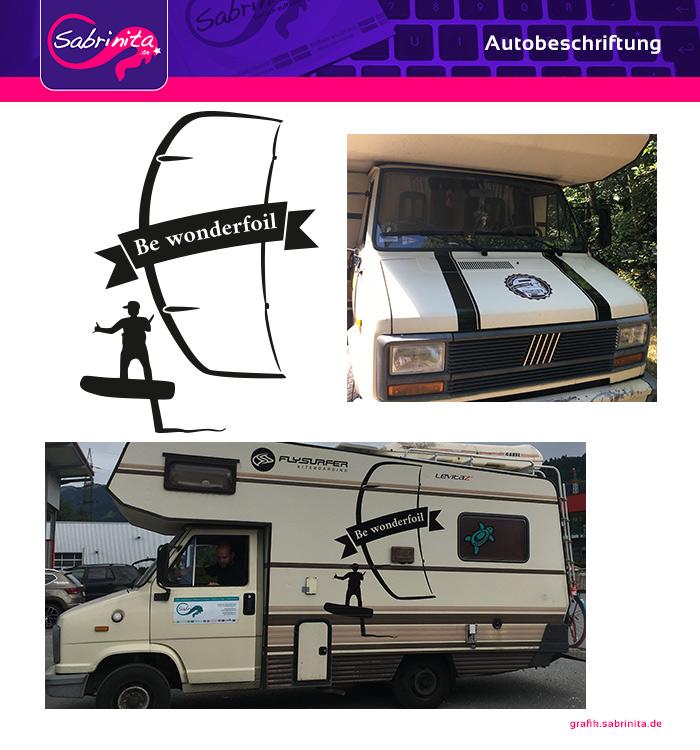 Autobeschriftung Wohnmobil - Kampagne be Wonderfoil - Vorne und Links