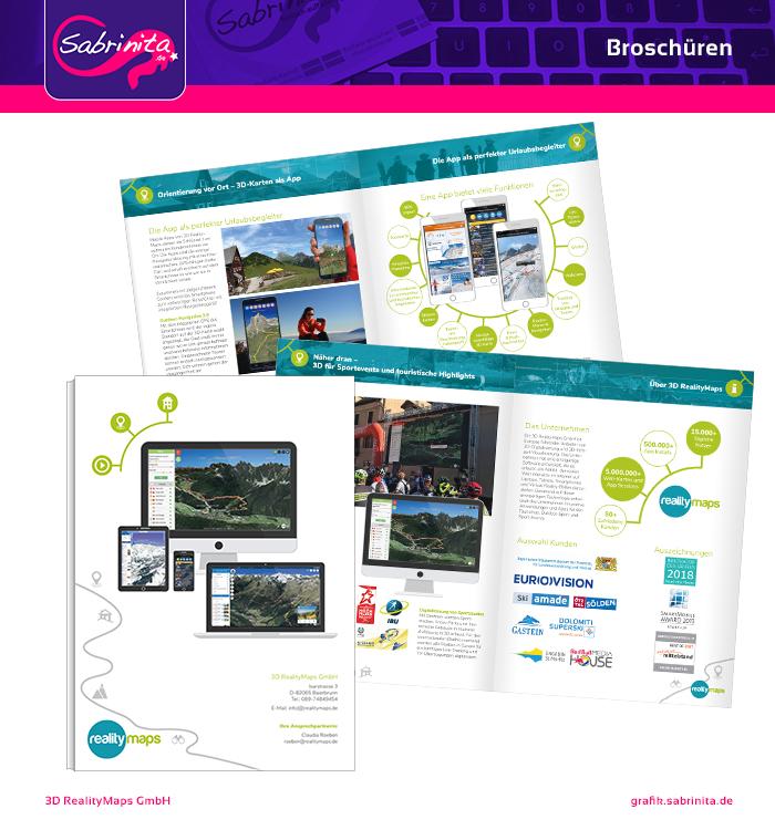 Referenz: Broschüre 3D Realitymaps Rückseite und zwei Doppelseiten