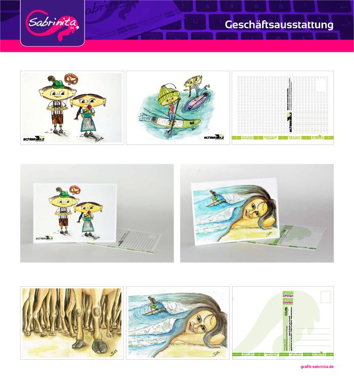 Referenzen: Postkarten A6 für Einfach Kunst! und die schlamuetz