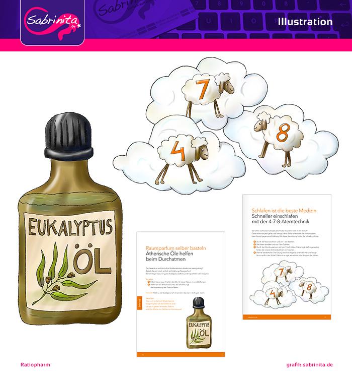 """Referenz: Illustration Eukalyptosöl und Thema """"Schlafen"""" - Ratiopharm Broschüre"""