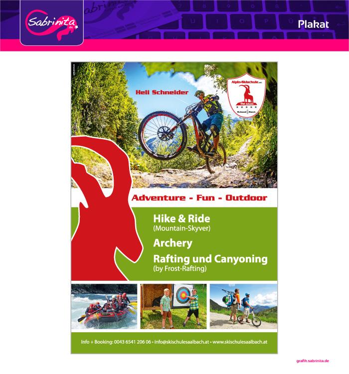 Plakat A1 für das Sommerangebot der Alpin Skischule Saalbach- Hinterglemm, Kaprun