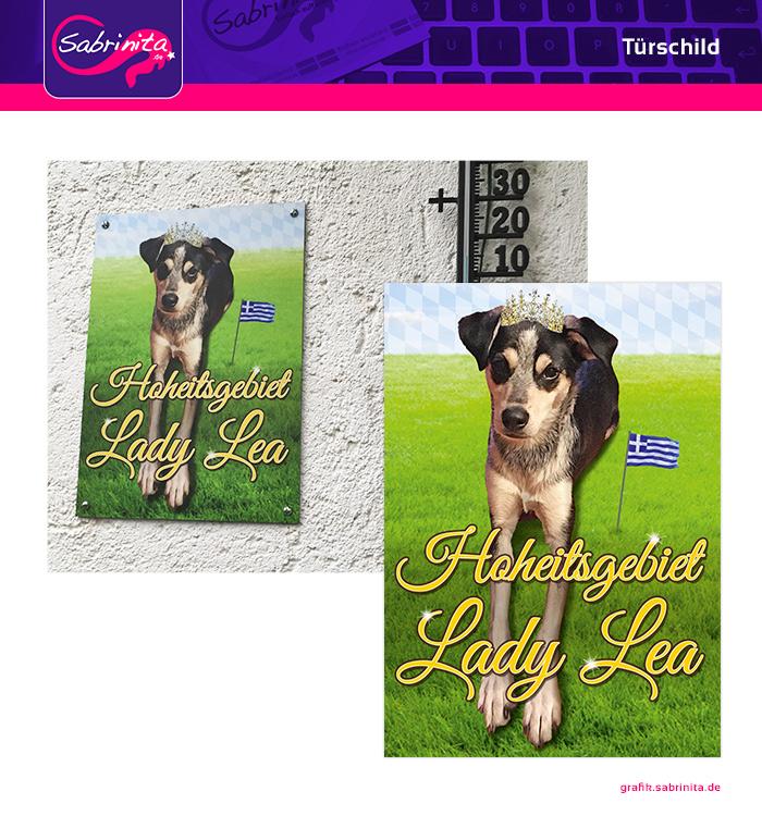 Referenz: Türschild für Hund