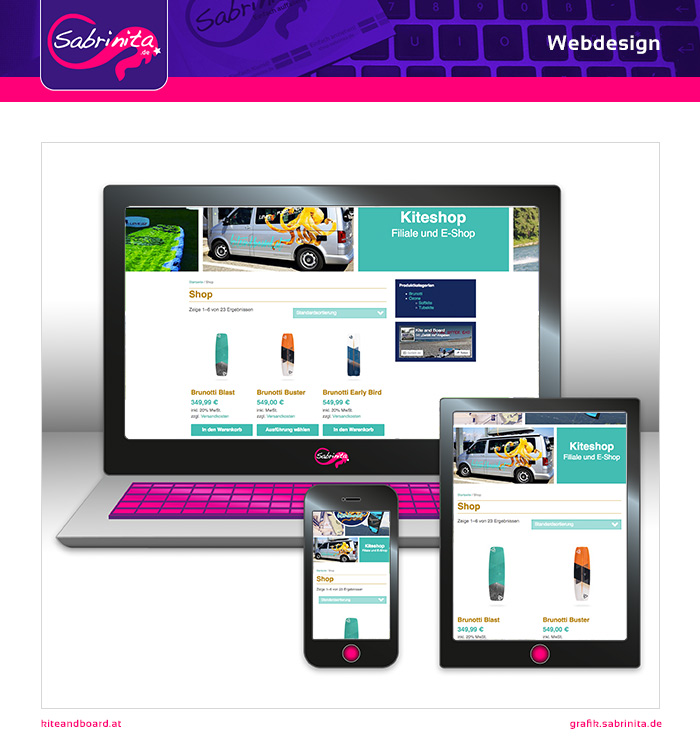 Webdesign - Kite and Board Shop - Shopseite - Responsive