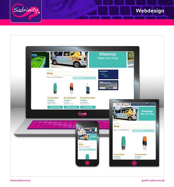 Webdesign - Kite and Board Shop - Shopseite - Responsive