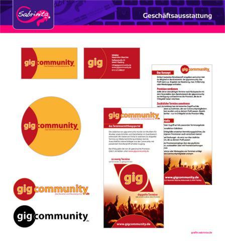 Referenz: Geschäftsausstattung Visitenkarte, Aufkleber, Flyer, Logo gigcommunity