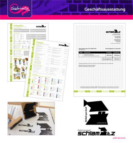 Referenz: Geschäftsausstattung Briefpaper, Auftragsblätter, Aufkleber, Stempel schlamuetz