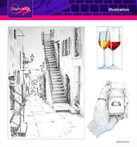 Referenz: Illustration Zeichnungen Bleistift, Tusche, Copics