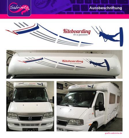 Autobeschriftung Wohnmobil - Kitesurfmotiv passend zum normalen Aufdruck