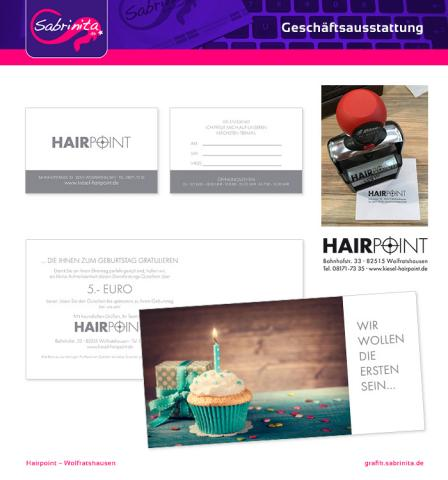 Referenz: Visitenkarte, Geschäftsstempel, Geburtstagskarte als Mailing