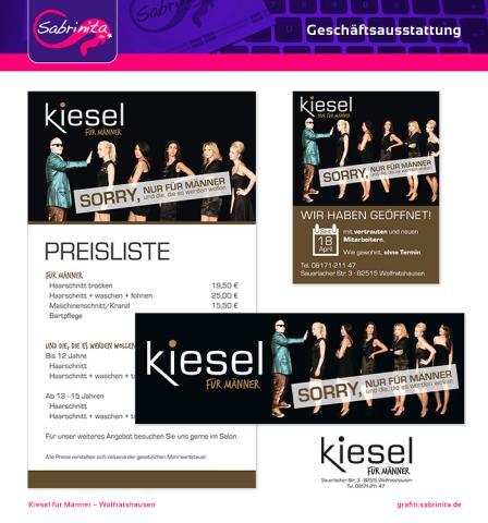 Referenz: Preisplakat, Anzeige zur Neueröffnung, Stempel und Schaufensterplakat