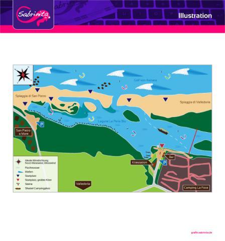 Illustration: Kitespot Karten, Valledoria Sardinien